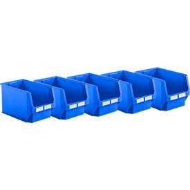 Spaarset: Fix- magazijnbakken LF 533, kunstof, 38 l, set van 5 bakken blauw