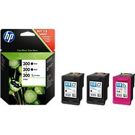 Sparpaket 3 x HP Druckpatronen Nr. 300 schwarz, color (SD518AE)