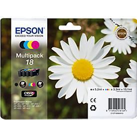 Sparpaket 4 Stück Epson Tintenpatronen C13T18064 schwarz, cyan, magenta, gelb