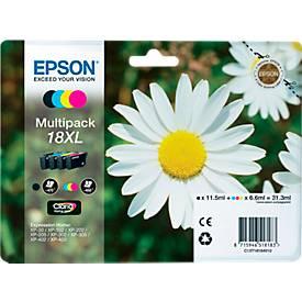 Sparpaket 4 Stück Epson Tintenpatronen C13T18164XL schwarz, cyan, magenta, gelb