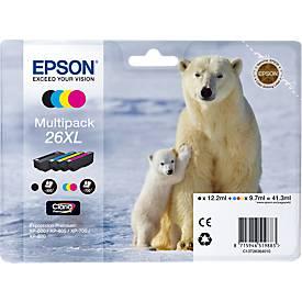 Sparpaket 4 Stück Epson Tintenpatronen T2636XL schwarz, cyan, magenta, gelb