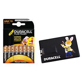 Sparset Batterien DURACELL® Plus Power, 16 Stück + gratis 3 GB USB Kreditkarte, jew. 1,5 V, Micro AAA