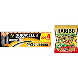 Sparset DURACELL® Batterie Plus Power, AAA o. AA, 20 St. + Gratis Haribo