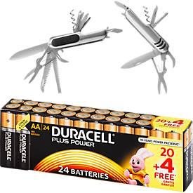 Sparset DURACELL® Batterien Plus Power, AA o. AAA, 20 St. + Gratis Taschenmesser