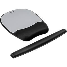 Sparset Handgelenkauflage mit Mauspad und Tastatur-Handgelenkauflage, schwarz/silber