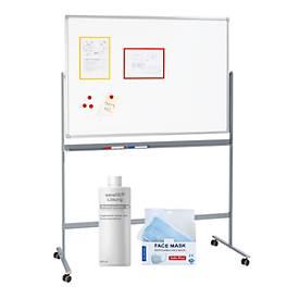 Sparset mobil. Whiteboard B 1200 x H 900 mm + 50 x Mund-Nasen-Schutz + Händedesinfektionsmittel sanaSEP, 500 ml