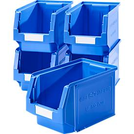 Sparset Sichtlagerkästen Serie LF 322, aus PP, Inhalt 10,4 L, blau, 5 Stück