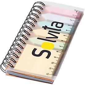 Spiral-Haftnotizbuch, 25 Haftnotizen, 40 Seiten liniertes Papier, mit Lineal