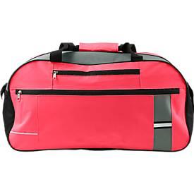 Sporttasche BANTANA, 600D Kunststoff, Reißverschlussfächer, mit Reflektorstreifen, rot