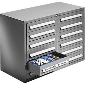 SSI Schäfer Ladekast Schub-Fix SF 120, 2 x 6 laden, 2 x 6 laden, plaatstaal, licht zilver, B 1055 x D 500 x H 723 mm, afsluitbaar.