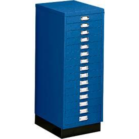 SSI Schubladenschrank DIN A3, 15 Schübe, 940 mm hoch, enzianblau