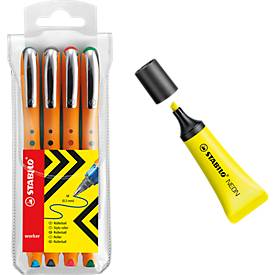 STABILO® bionic® Tintenroller worker, 4er-Set + Textmarker Neon, GRATIS