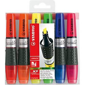 STABILO® tekstmarker luminator, set van 6 stuks (rood, oranje, geel, groen, blauw en roze)