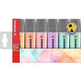 Stabilo Textmarker Boss Original, Strichbreite 2 mm/5 mm, Pastelfarben, 4 o. 6 Etui