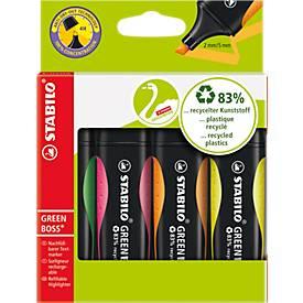 STABILO® Textmarker Green Boss, set van 4 (geel, oranje, groen en roze)