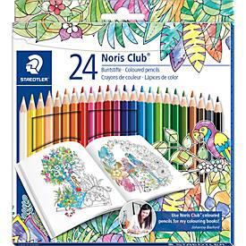 Staedtler Farbstifte Noris Club® 144, 24 Farbstifte im Kartonetui, Sonderedition Johanna Basford