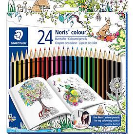 Staedtler Farbstifte Noris Club® 185, 24 Farbstifte im Kartonetui, Sonderedition Johanna Basford
