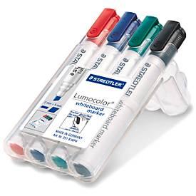 STAEDTLER Whiteboardmarker Lumocolor®, farbsortiert, Keilspitze: 2 - 5 mm, 4er Set