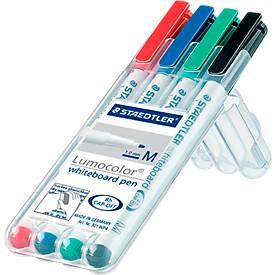 STAEDTLER Whiteboardmarker Lumocolor®, farbsortiert, Rundspitze: 1 mm, 4er Set