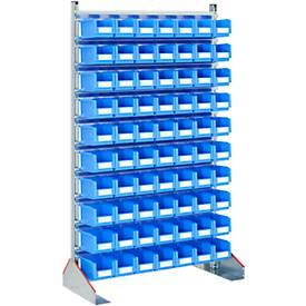 Ständerregal einseitig, B 1130 x T 500 x H 1885 mm, 70 x 3 l, blau