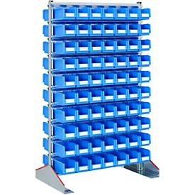 Ständerregal zweiseitig, B 1130 x T 700 x H 1885 mm, 140 x 3 l, blau
