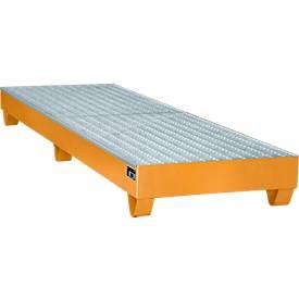 Stahl-Auffangwanne mit Gitterrost, 2400 x 800 mm, orange RAL 2000