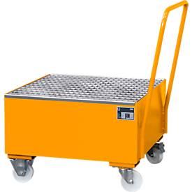 Stahl-Auffangwanne mit Rollen+Griff, 800 x 800 mm, orange RAL 2000