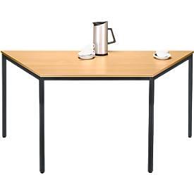 Stahlrohr-Tisch, Trapez, 1600/800 x 690 mm, Buche-Dekor/schwarz