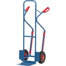 Stahlrohrkarre, bis 300 kg, H 1300 mm, Luftbereifung, blau