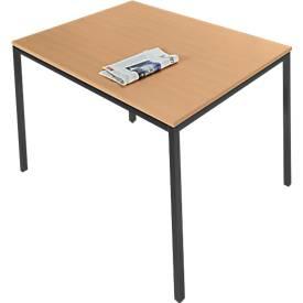Stalen tafel, 1200 x 800 mm, beukend./zwart