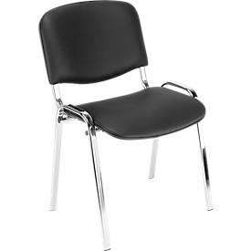 Stapelbare stoel ISO Basic, kunstleder, onderstel verchroomd