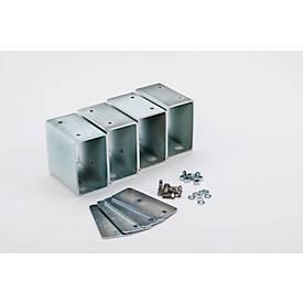 Image of Stapelfüße für CEMO Akku Ladeschrank Basic/Premium/Premium Plus & Akku Lagerschrank, ermöglicht platzsparende Stapelung der Schränke, 4 Stück, silber