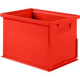 Stapelkasten Serie 14/6-3 S, aus Polypropylen, mit Griffmulde, Inhalt 9,3 L, rot