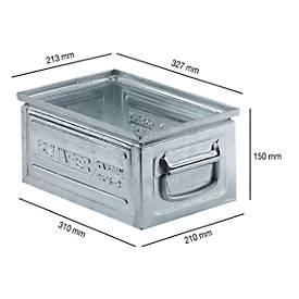 Stapelkasten Serie ST14/6-3, aus Stahl, Inhalt 9,3 L, ideal f. schwere Güter, verzinkt