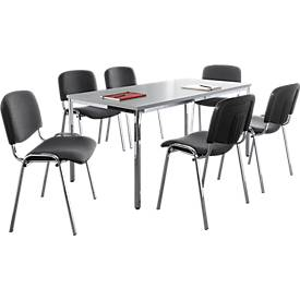 Stapelstühle ISO BASIC, Stoff, anthrazit, 6 Stück + 1 Tisch, B 1600 mm SET