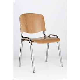 Stapelstuhl WOOD, verchromtes Stahlrohrgestell, ergonomische Sitz- und Rückenfläche