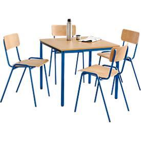 Stapelstühle, 4 Stück + Tisch, 800 x 800 mm SET