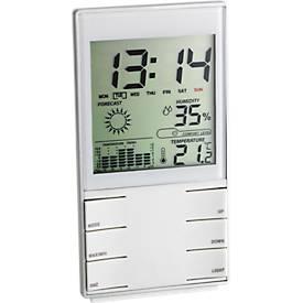 Station météo, avec horloge, fonctionnement par pile, 140 x 75 x 20 mm
