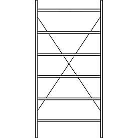 Steckregale System R 3000, H 2278 mm, 6 Böden, Böden lackiert
