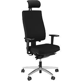 Steifensand Bürostuhl CETO CT2450, Synchronmechanik, ohne Armlehnen, Membransitz, mit Nackenstütze, schwarz