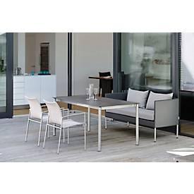 STERN Tisch, Gestell Edelstahl Rundrohr, glänzend, Platte Silverstar 2.0 Nitro