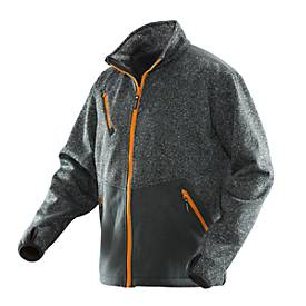 Stickad Softshell schwarzmelange/orange L