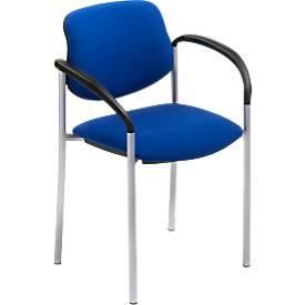 Stijlvolle bezoekersstoel, met armleuningen, blauwe stof, aluminium zilverkleurig frame, stapelbaar tot 6 stuks.