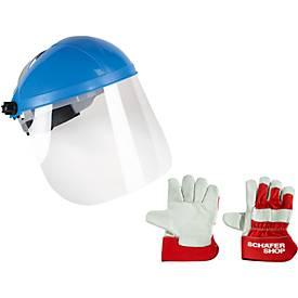 Stirn- und Gesichtsschutz + 1 Paar Arbeitshandschuhe, GRATIS