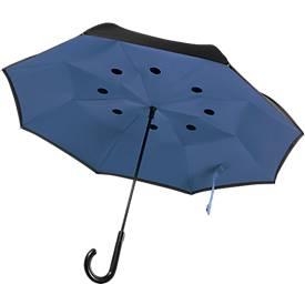 Stockschirm Dundee, reversibler Regenschirm, aus 190T Seide, gebogener Griff