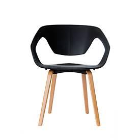 Stoel Paperflow Danwood, massief hout, ergonomisch. PP zitschaal, zwart, set van 2 stuks
