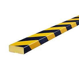 Stootrand type D, strekkende meter, geel/zwart