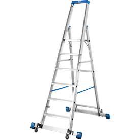 Stufenstehleiter, Aluminium, fahrbar mit Traverse