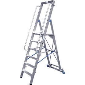 Stufenstehleiter, mit großer Plattform, Aluminium