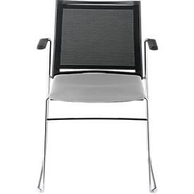 Stuhl Ariz 575 V2P, gepolstert/Netz schwarz, m. Armlehnen, grau